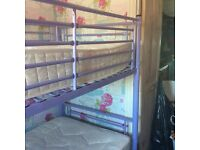 Bunk beds - lilac coloured metal framed - includes 2 single mattresses
