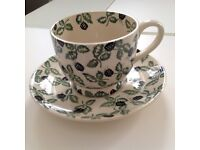 Emma Bridgewater large cup and saucer, rare Blackberry design , perfect condition