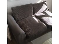 Luxury snakeskin and corduroy two seater settee and footstool