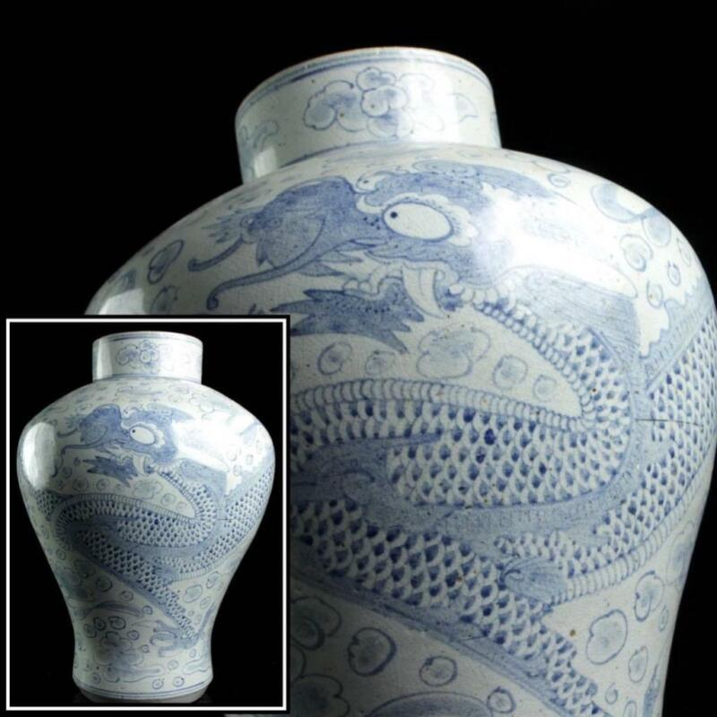Korean Joseon Dynasty Huge Dragon Vase / W 34 × H 47[cm]