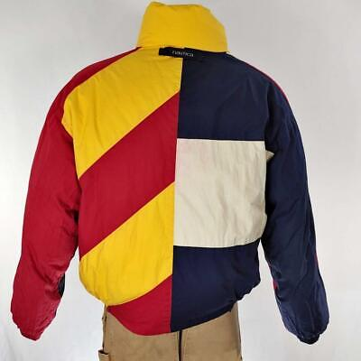 Vintage Nautica Reversible Down Ski Jacket Color Block Sz L GUC
