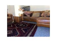 Beautiful Tan Leather Corner Sofa