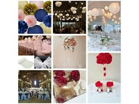 Wedding/ Event/Dinner Table Decorations centrepieces & chair covers linen hire -ostrich feathers