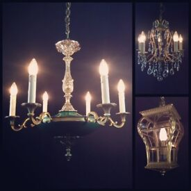 LOTS OF ANTIQUE & VINTAGE FRENCH WALL LIGHTS, CHANDELIERS, CANDELABRAS, SCONCES, LANTERNS FOR SALE