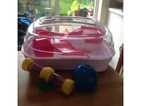 Multi Tiered Pink Hamster Cage with Accessories