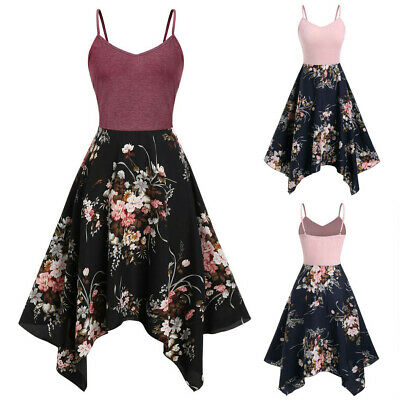 - Plus Size Womens Floral Print Dress Party Asymmetric Camis Handkerchief Dresses