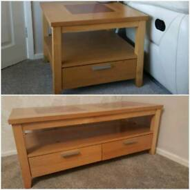 Solid wood oak effect TV/coffee table and matching side table