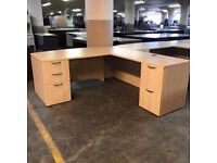 Large Executive Light Oak L Shape Desk & 2 Matching Lockable Desk High Pedestals