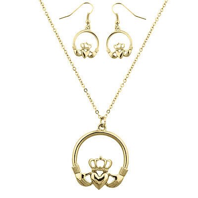 Lux Accessories Gold Tone Claddagh Earring and Necklace Set (2PCS)