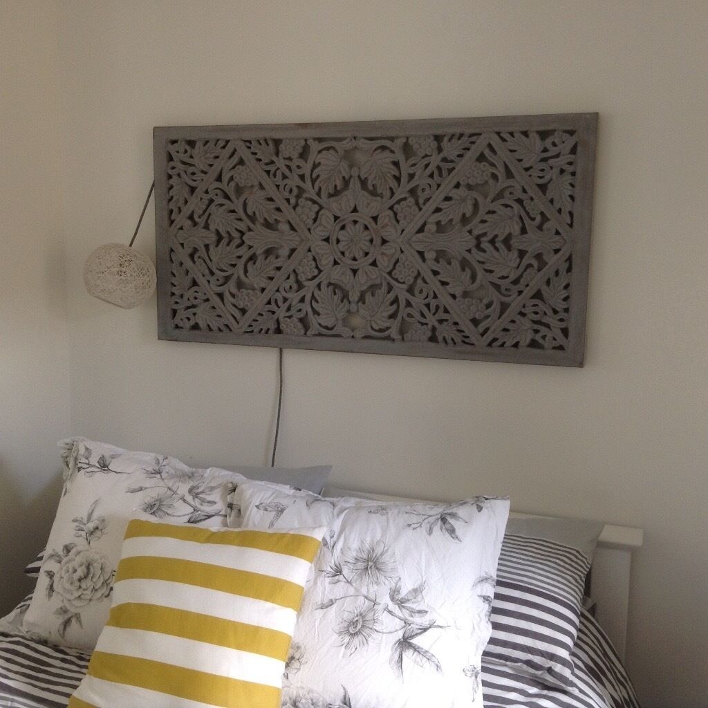 Wooden panel carved decorative bed head screen grey ono