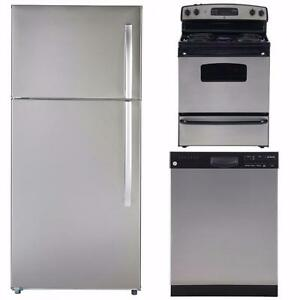 Stainless Kitchen combo : 30'' Fridge, 30'' Stove and 24'' Dishwasher, GE & Moffat