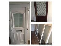 UPVC double glazed doors & window White front door with frame & key