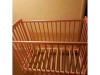 Baby pink cot and mattress