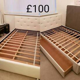 Small double bed with pull out drawer