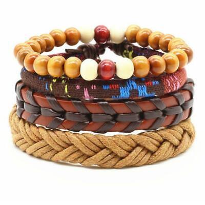 4PCS BRACELET SET Mix Color Wood Bead Leather Hemp Braided Adjustable Men Women Bead Hemp Bracelet