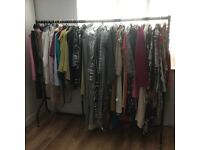 COMMERCIAL GRADE CLOTHES RAIL USED BY SHOP/MARKET-EASY 4 x PIECE ASSEMBLY & EASY GLIDE CASTORS £30