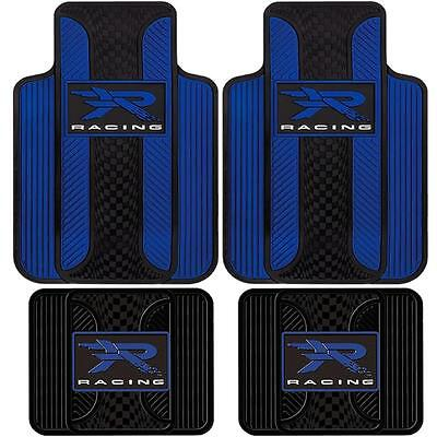 4 PIECE R RACING VELOCITY BLUE FRONT & REAR RUBBER FLOOR MATS UNIVERSAL SET