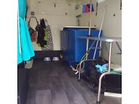 Mobile dog grooming van and clients