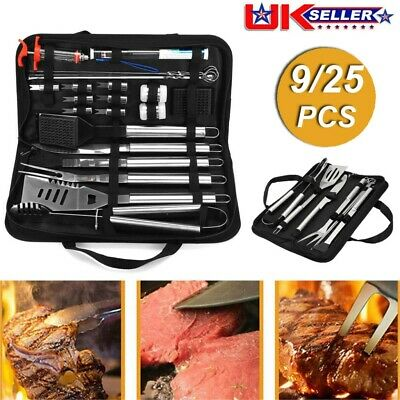 9/25PCS Stainless Steel BBQ Tools Set Kit Grill Cookware Utensils With Case UK