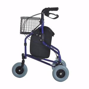 "Heavy Duty Rollator Walker 8"" 3 Wheels Basket Rolling Folding Aluminum"
