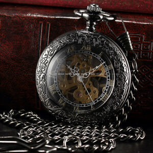 Steampunk Skeleton Mechanical Black Gold Open Face Retro Pendant Pocket Watch