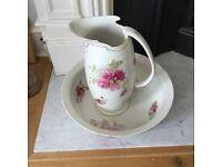 Pretty vintage jug and bowl