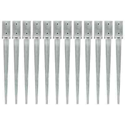 vidaXL 12x Ground Spikes Silver Galvanised Steel Garden Outdoor Soil Spear