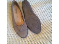 Gabor pumps. Fawn suede effect. Wedge heel. Never worn