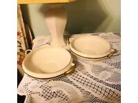 Two Vintage 1950s Pareek Johnson Bros. Gold Rimmed Porcelain Serving Dishes