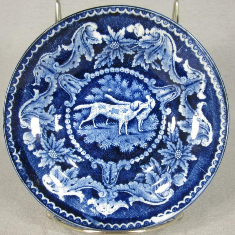 Antique Clews Staffordshire Dark Blue Transferware Pearlware Bowl w Hunting Dogs