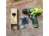 New Ryobi compact li-ion 7.2v drill driver with 25 screw driver bits - £40 or near offer