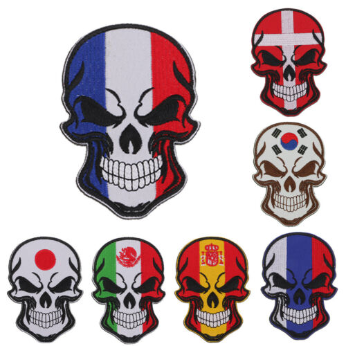 Gothic Skull Flag Embroidered Applique Decorative Patches fo