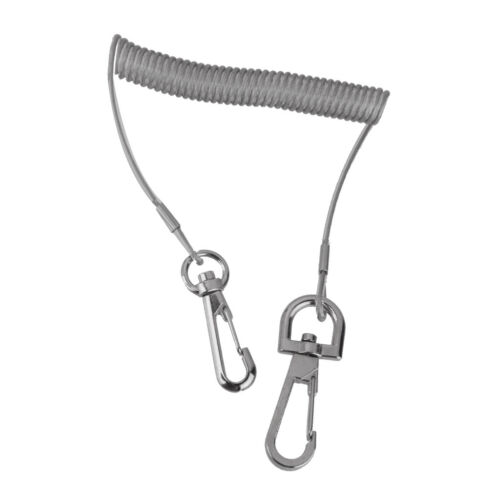 Stainless Steel  Coiled Fishing Rod Safety Lanyard Wire Rope Tether Grey C
