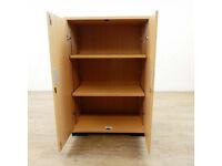4 x Two Door Light Oak Storage Cabinet Wood cupboard desk shelfs shelving desk office free delivery
