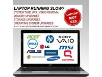Is your laptop running slow? Book in for a Laptop MOT today for only £25.