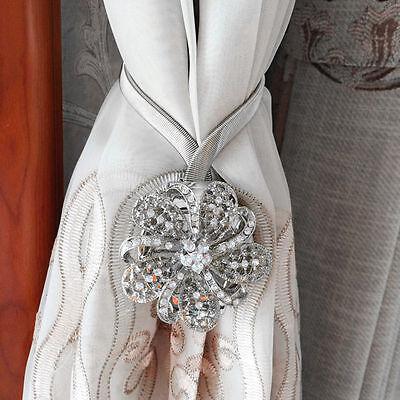 Pair of Magnetic Crystal Flower Curtain Tiebacks Tie Backs Buckle European Style