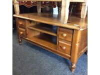 Large solid pine coffee table with drawers