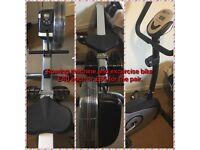 Rowing machine and exercise bike. £65for both or £40 each
