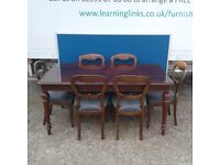 Dark Solid Wood Extending Table with 6 Matching Chairs