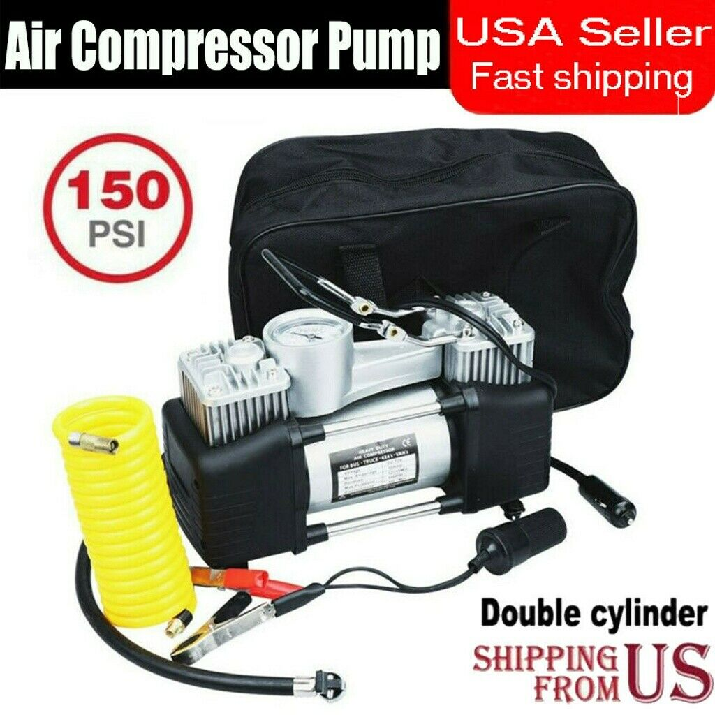 150PSI Double Cylinder Air Pump Compressor Car Tire Tyre Inflator Heavy Duty US