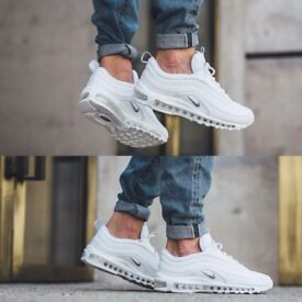 White limited Nike 97s (mens) (size 8)