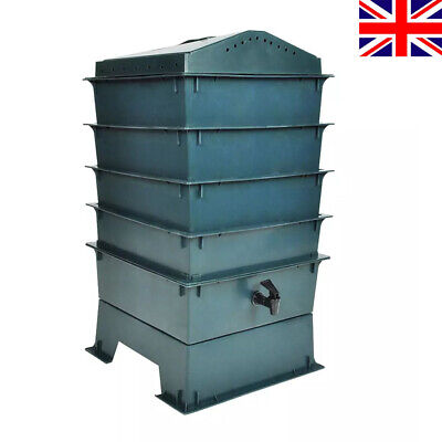 4-Tray Wormery Worm Farm Factory Organic Composting Bin Garden Bedding Stacking