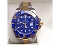 New Mens bagged two tone Bracelet blue dial blue bezel automatic Rolex submariner watch