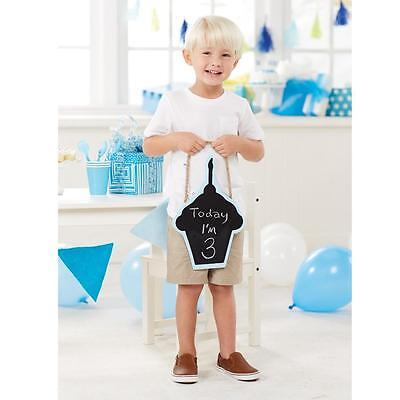 Mud Pie Blue Cupcake Shaped Boys Birthday Chalkboard Sign Photo Prop New (Birthday Chalkboard Sign)