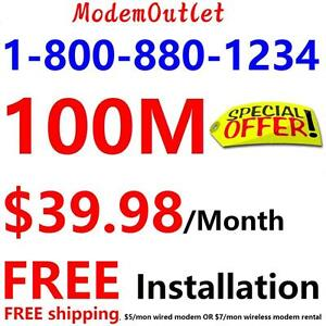 Free Install + Free Shipping , 100M Unlimited internet only $39.98/month,no contract,call 416-422-2222 to order