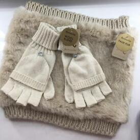 Accessorize faux fur scarf & wool blend gloves set Christmas gift