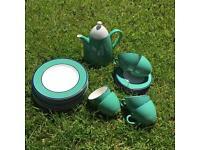 Teal coloured pottery/china set