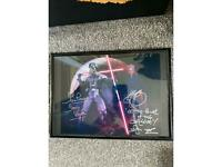 Framed hand signed star wars darth vader and darth maul