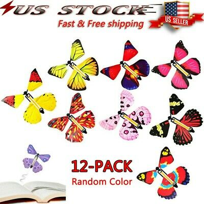 12 Pcs Flying Butterfly Greeting Card book Magic Toys Fly Wind Up Great Gifts US