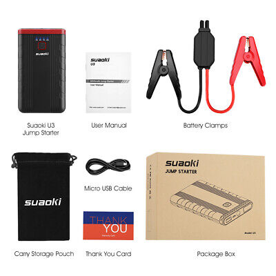 Suaoki U3 400A Peak Portable Jump Starter Car Battery Booster and Phone Charger Phone Charger Booster